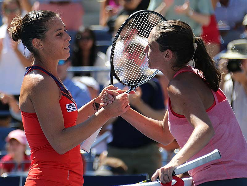 Flushing, NY, 2013, 5SEPT2013 US Open Tennis Championships. FLAVIA PENNETTA, 31, A GRAND SLAM FINALIST FOR THE FIRST TIME, DEFEATING FELLOW ITALIAN ROBERTA VINCI.